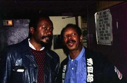 David Henderson and Ornette Coleman -- June 27, 1986 -- backstage at Wolfgang's, Columbus Avenue, San Francisco -- Photo by Mark Weber