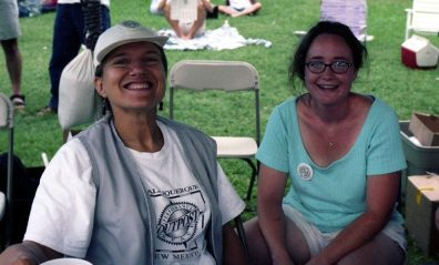 Janet and Justine Flynn (French horn & Celtic harp) -- Hyder Park Festival, Albuqueque -- September 14, 1997 -- photo by Mark Weber
