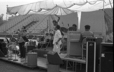 Bobby Bradford Quintet -- April 14, 1979 -- Pasadena City College -- Glenn Ferris, trombone; Noah Young, bass; Bobby, cornet; Bert Karl, drums; John Carter, clarinet & piano -- photo by Mark Weber