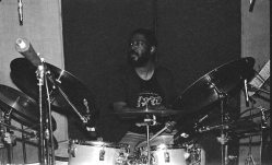 Sherman Ferguson recording LOST IN L.A. with Bobby Bradford Mo'tet -- June 7, 1988 -- photo by Mark Weber