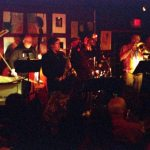 Bobby Bradford Mo'tet at Cafe 322, Sierra Madre (in the 1970s this club was known as The Raven & The Rose) -- Don Preston, piano; Chuck Manning, tenor; Bobby Bradford, cornet; Putter Smith, bass (subbing for Roberto); Chris Garcia, drums; Michael Vlatkovich, trombone; Ken Rosser, guitar -- April 4, 2008 -- photo by Mark Weber