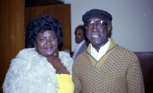 """Melba Joyce and John Carter -- March 20, 1983 -- at the Local 47 Musician's Union, Los Angeles -- """"Dolo Coker Love In"""" (Dolo was afflicted with cancer) -- Melba was Bobby Bradford's first wife, she sang one song on John's album ECHOES OF RUDOLPH'S -- photo by Mark Weber"""