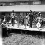 Bobby Bradford Mo'tet -- March 28, 1981 -- Pitzer College -- BB, cornet; Doc Holiday, conga; James Kousakis, alto sax; Fred Johnson, bass; Herb Shon, electric piano; Ooxnokahkee, percussion & yodels; Newell Canfield, drums -- photo by Mark Weber