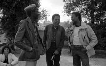 Martin Banks (trumpeter), Bobby Bradford, and Roy McCurdy -- March 28, 1981 -- Pitzer College, Claremont -- photo by Mark Weber