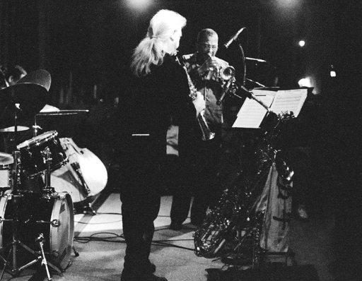 Bobby Bradford Mo'tet -- April 21, 1995 -- Vinny Golia, soprano saxophone; Bobby, cornet -- photo by Mark Weber