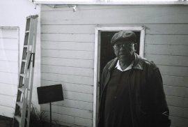 Bobby outside his home studio in his backyard -- April 10, 2o12, Altadena -- photo by Mark Weber