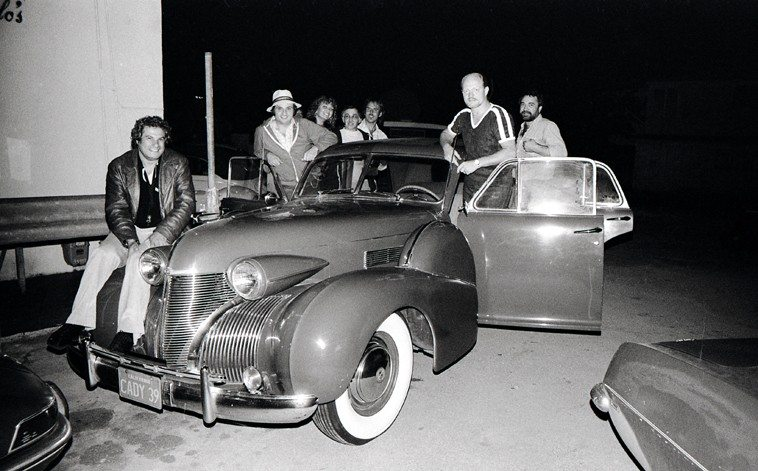 Don Menza & his 1939 Cadillac out back of Carmelo's jazz club in North Hollywood -- May 26, 1980 -- Left to right:  Jay Migliori, Ray Pizzi, Frank Strazzeri, unknown, Don Menza, Nick Ceroli -- photo by Mark Weber