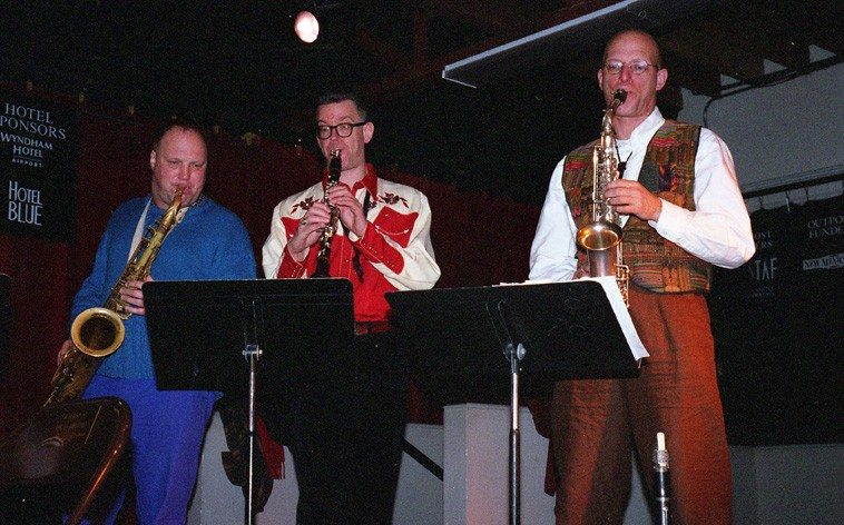 Toby Delius, Ab Baars, Michael Moore -- soundcheck -- Outpost Performance Space, Albuquerque -- March 17, 2003 -- photo by Mark Weber