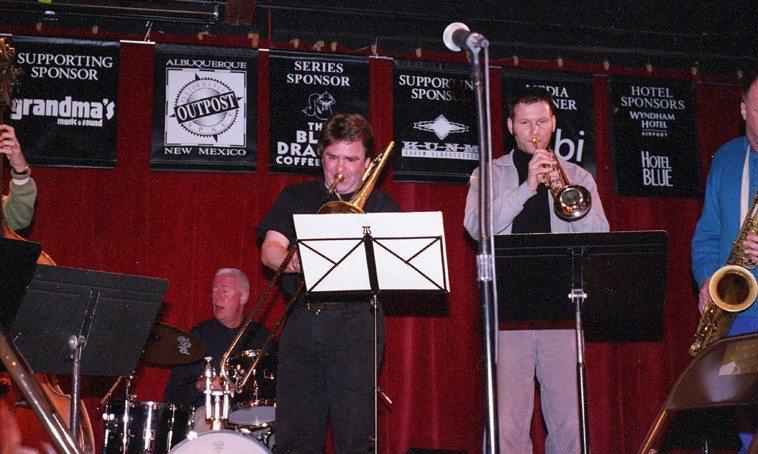 Han Bennink, drumset; Wolter Wierbos, trombone; Thomas Heberer, trumpet;  ICP soundcheck -- March 17, 2003 -- photo by Mark Weber