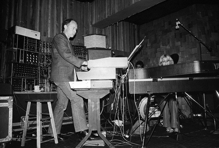 Don Preston & Joanne Grauer w/ Al Checchi, drums -- August 23, 1980 @ Two Dollar Bills, on Franklin in Hollywood ----- photograph by Mark Weber  (part of this photo was used on recent CD release of Don's FILTERS, OSCILLATORS & ENVELOPES 1967-1982)