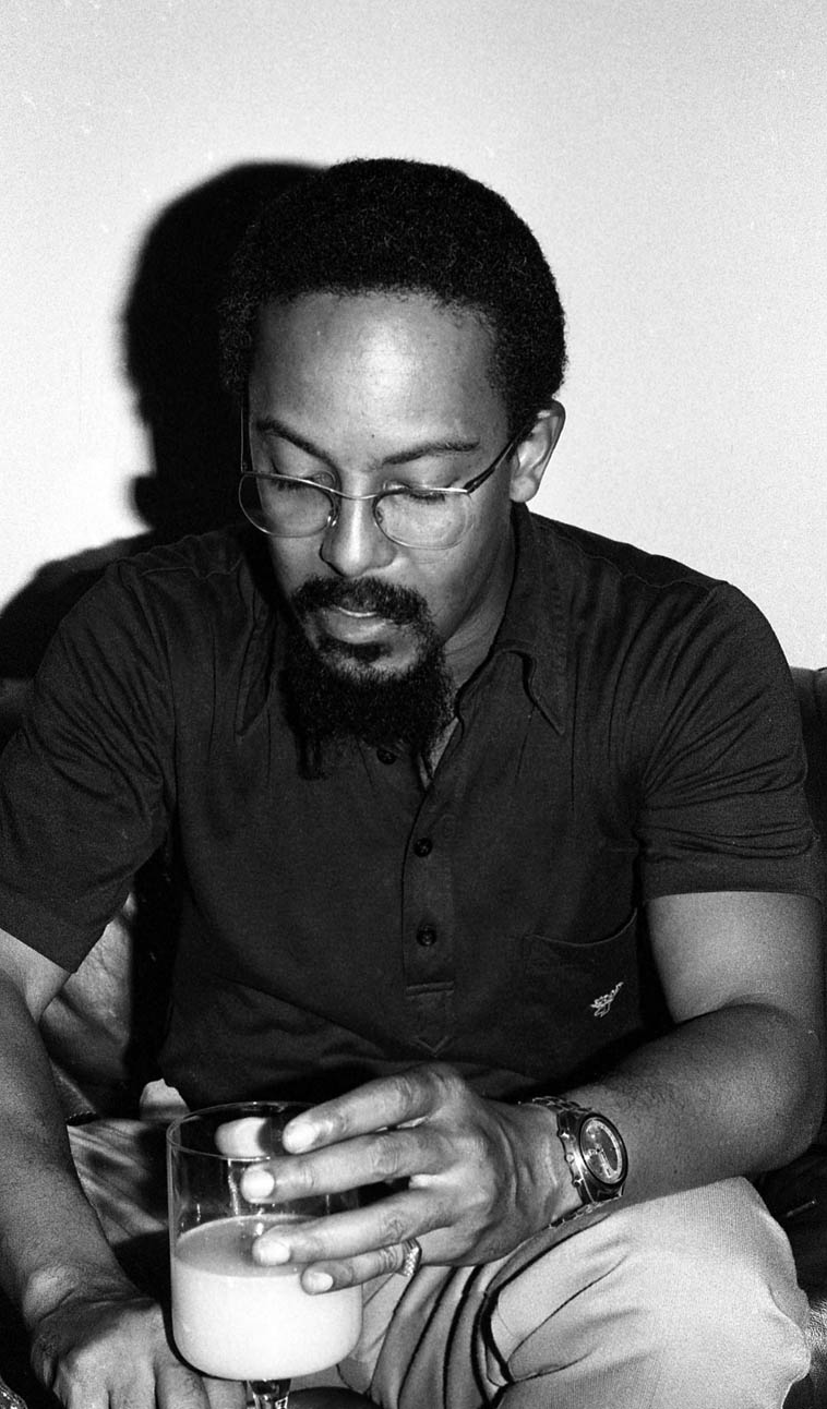 """Lester Bowie(1941-1999) ---- October 20, 1979 -- UCLA -- photo by Mark Weber -- Lester always claimed to be influenced by Blue Mitchell ---- Have you ever heard his rendition of """"Hello Dolly""""? It's a remarkable piece, but it doesn't stand alone, it requires that you know Louis' version to fully appreciate it's abstraction and total adoration of Mr Strong (Mr Louis Armstrong)"""