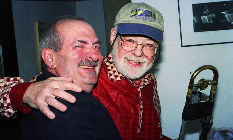 Kenny Davern & Roswell Rudd, old friends from the 1950s cauldron of hot jazz on Manhattan --- March 28, 2004 ----- photo by Mark Weber