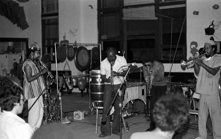 John Carter sits in with Art Ensemble of Chicago -- June 26, 1976 Los Angeles -- Joseph Jarman, John Carter, Rasul Siddik (also sitting in), Lester Bowie -- Studio Z on Slauson Avenue -- photo by Mark Weber
