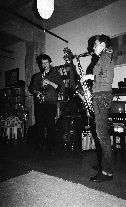 Nick Lyons, alto saxophone duet with Birgitta Flick, from Berlin on tenor -- November 16, 2o14 -- photo by Mark Weber ---- Birgitta is a student of Connie's