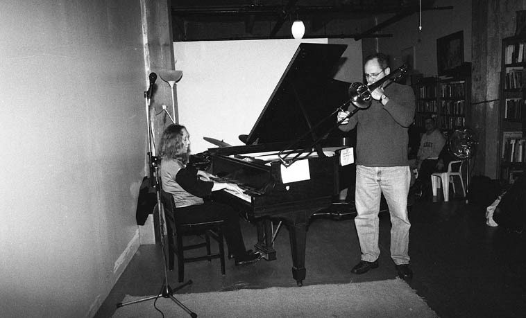 Connie Crothers and George McMullen -- November 16, 2o14 -- photo by Mark Weber -- It has been long years ere a trombone has ventured into these realms, sayeth the ghost of Willie Dennis