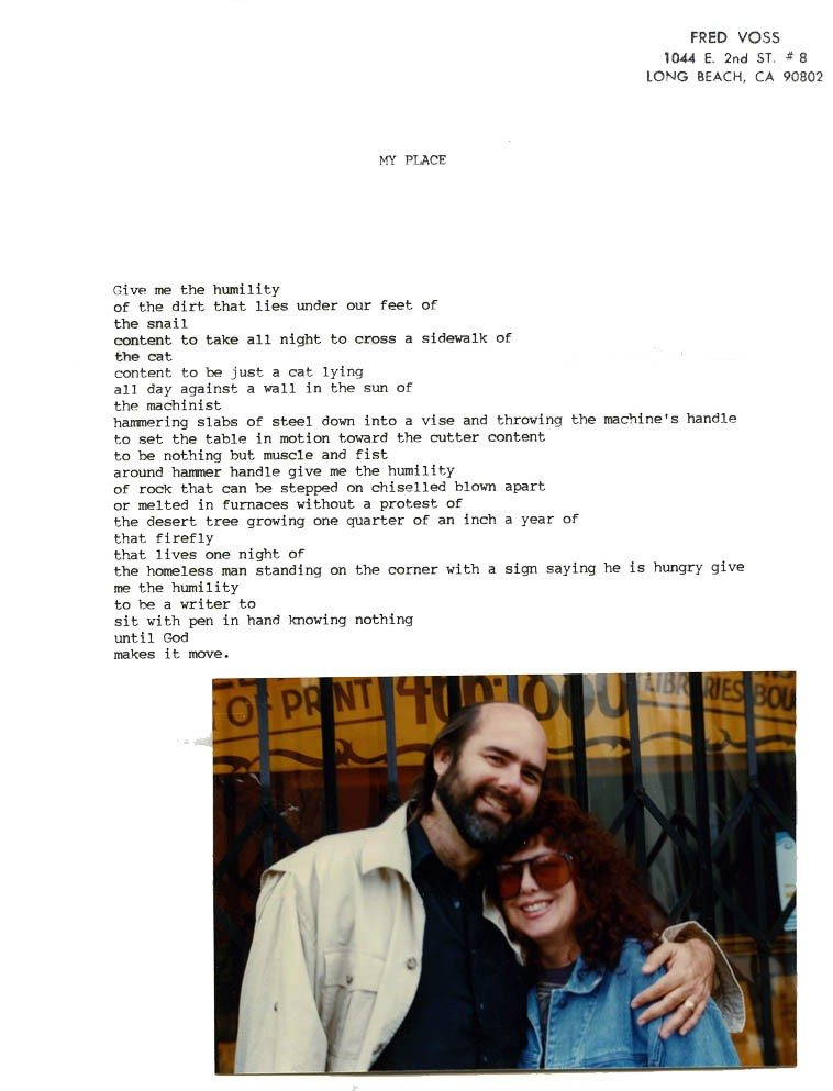 Original typescript poem by Fred Voss -- circa mid-1990s -- photo of Fred Voss & Joan Jobe Smith,  December 1994 by Linda King ------- collection of Mark Weber