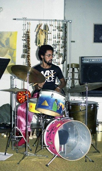 Tylon Barea in performance with James Newton Trio (with Woody Murray, vibraphone) -- May 22, 1977  Los Angeles -- photo by Mark Weber