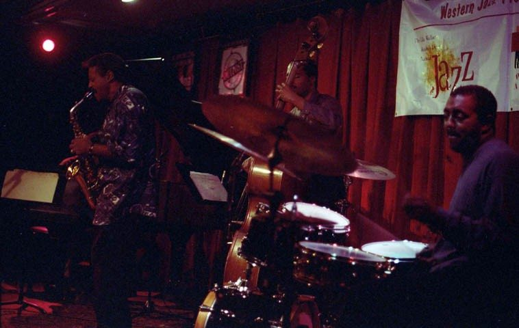 """Charles McPherson Quartet at Outpost Performance Space, Albuquerque -- October 5, 1998 -- Randy Porter, piano; Chuck McPherson, drums; Jeff Littleton, bass ---- photo by Mark Weber ---- as Phil Woods says about Charlie Parker: """"It was nature's cruel joke to put him here and set this unattainable example for the rest of us."""""""
