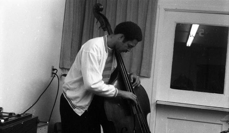 Tom Williamson at Herrick Lounge, Occidental College, Los Angeles -- January 16, 1969 -- recording the first album of The New Art Jazz Ensemble SEEKING (Revelation Records) -- photo by John William Hardy from the collection of Bobby Bradford