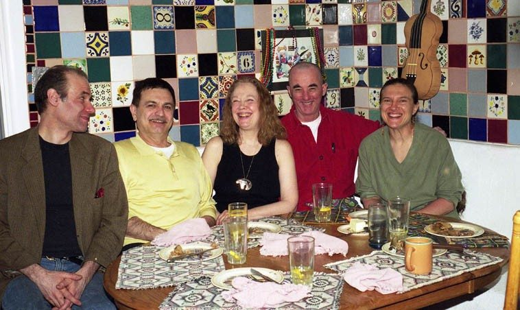 We called ourselves the Warne Marsh Appreciation Society that night ---- the Connie Crothers  Quartet was in town to play the Outpost ---- this dinner the night before at 725 (Janet & my house) -- March 25, 2001 Albuquerque ---- Richard Tabnik, Roger Mancuso, Connie, David Parlato,  Janet Simon, who cooked us something delicious ---- photo by Mark Weber (how do you like my  tile work?)