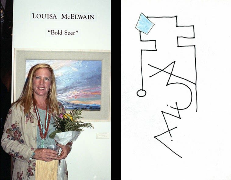 """Shakes you down to the core when a fellow human being takes their own life ---- We have framed  prints of Louisa McElwain's paintings all over the house -- She was born the same year  as me (1953) and you always feel a connection to somewhat who's traveled the same distance --  photo by Mark Weber -- Santa Fe -- July 12, 1996 Santa Fe -- what a great painter of New Mexico  landscapes ------ line drawing by Mark Weber """"Louisa McElwain""""     [poem]     Life catches up with us  the entire planet enveloped in life  a spirit, a force, continuance  we each carry life along in the stream  as it flows on through us and around us ----  mourning doves this morning in Taos  when I found out  (7june15)"""