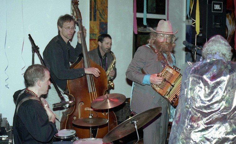 Bayou Seco Mardi Gras -- February 8, 1997 Santa Fe w/ Terry Bluhm, bass; Tom Guralnick,  alto saxophone; Jefferson Voorhees, rub board & drumset ---- photo by Mark Weber