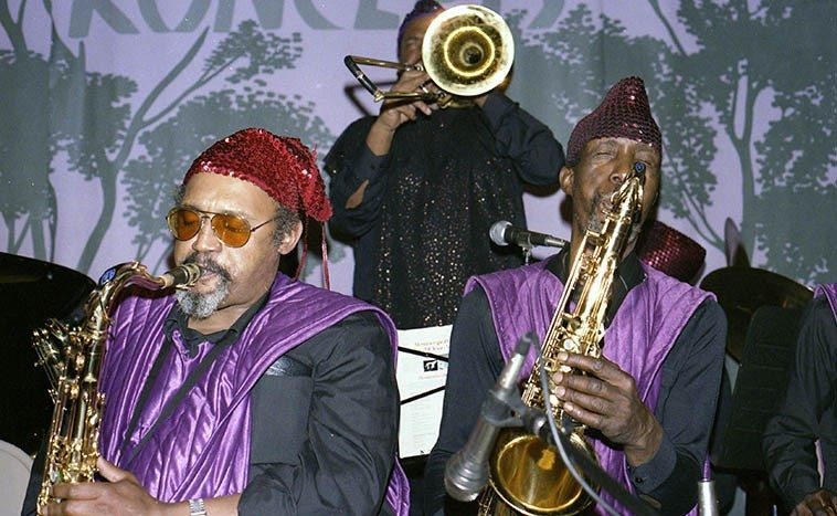 Ronald Wilson and John Gilmore in the Sun Ra sax section -- December 4, 1985 Oakland, California --  photo by Mark Weber