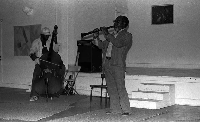 Stanley & John Carter in duet at Ibedon First Annual Festival in the Performing Arts, Studio Z, 2409 W. Slauson, Los Angeles -- May 22, 1977 -- photo by Mark Weber