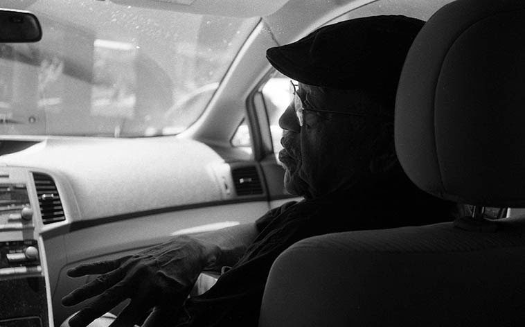 Bobby Bradford riding shotgun down the Pasadena Freeway to Los Angeles -- August 14, 2o15 -- photo by Mark Weber