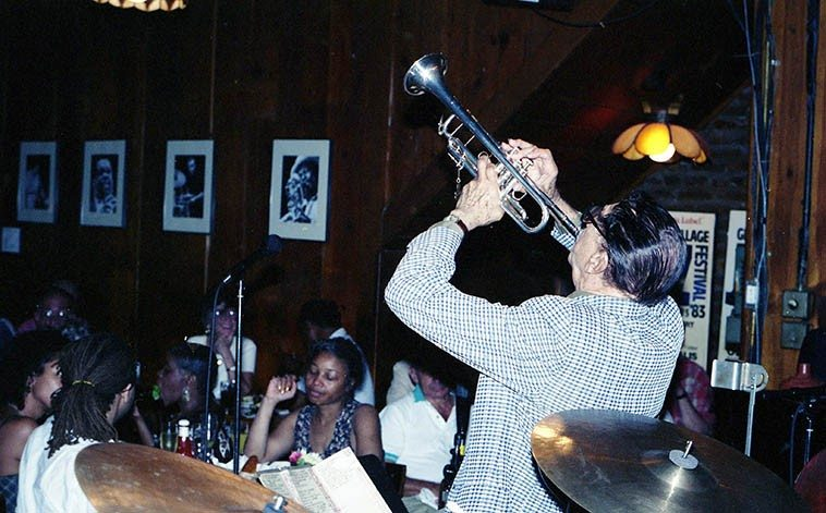 "Doc Cheatham at Sweet Basil, NYC -- September 1, 1996 ---- Sunday afternoon ""jazz brunch"" -- photo by Mark Weber"
