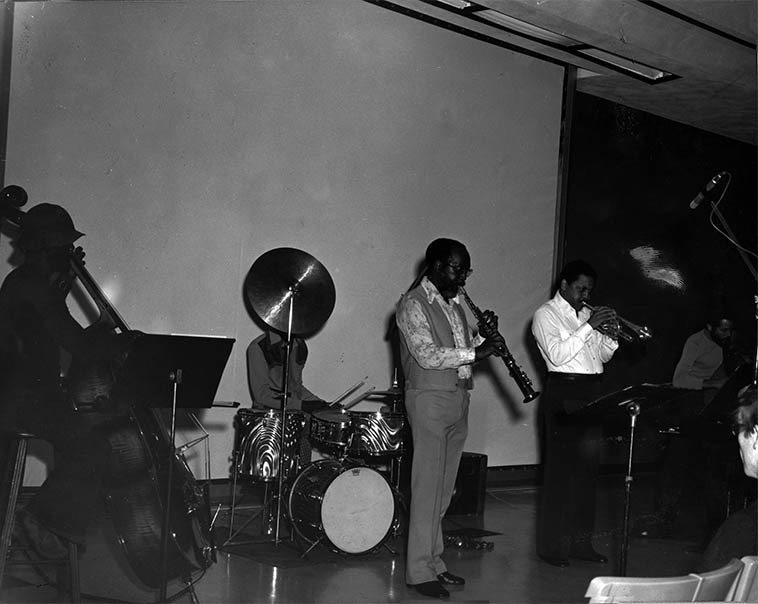 Stanley Carter, bass; William Jeffrey, drums; John Carter, soprano; Bobby Bradford, cornet; Robert Miranda, bass -- November 17, 1975 -- photographer unknown -- from the collection of John Breckow