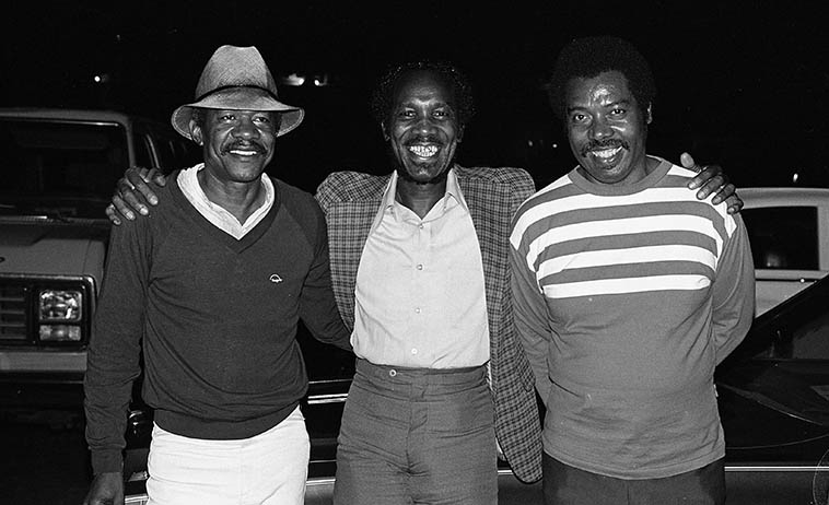 Two drummers and a trumpet player: Bobby Brooks, Clarence Johnston, Harold Howard -- June 18, 1983 Los Angeles -- photo by Mark Weber
