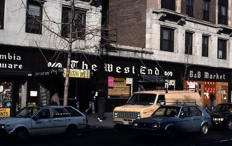 The West End features prominently in the annuls of Beatnik lore in the 40s as well as all the unstoppable jazz manifested there in the 1980s & 90s under the direction of WKCR deejay Phil Schaap ---- (KCR is across the street at 114th and Broadway) w/ such luminaries as Sonny Greer, Papa Jo, Buddy Tate, Wild Bill Davis (w/ young Doug Lawrence on tenor), Russell Procope, Lee Konitz, Joe Albany, Vic Dickenson, Doc Cheatham, Harold Ashby, Warne Marsh (w/ Joshua Breakstone on guitar) for 18 years --- photo by Mark Weber -- December 1988 ---- My wife's sisters live directly ten stories above the West End and we say there often, always getting up in time to listen to Phil's radio show Bird Flight at 8:20 weekday mornings