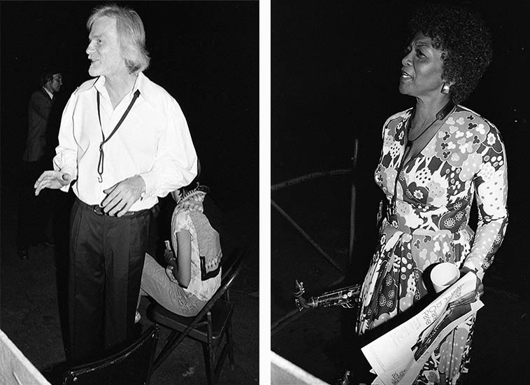 """Gerry Mulligan and Vi Redd ---- backstage at Hollywood Bowl -- July 30, 1980 at an evening called Bless the Bird: A Tribute to Charlie Parker ---- photos by Mark Weber ---- some guy walking by had good-naturedly hollared """"Hey, Gerry, where's Chet?"""" alluding to the 1953 days at The Haig and we all had a laugh ---- For years I tried to corral Vi Redd into a sit-down interview but she always sidestepped me, we always had pleasant conversations, maybe she thought I was going to ask the same old tired questions about Eric Dolphy, and maybe I was, I know more about her now than I did then, thanks to re-issues of her records ---- Today we'll dig into the album she made with Marian McPartland and the guitarist Mary Osborne."""