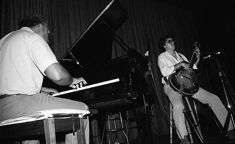 Ellis Marsalis and Steve Masakowski -- June 27, 1982 at Tyler's Beer Garden, 5234 Magazine, New Orleans -- photo by Mark Weber ---- the patrons were big on the oysters AND the beer in this great jazz spot, I wonder if it's still there, post-Katrina?