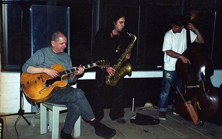 Andy Fite (guitar), Lorenzo Sanguedolce (tenor), Adam Lane (bass) -- session at drummer John Wagner's studio near the Navy shipyards in Brooklyn -- May 6, 2008 -- photo by Mark Weber