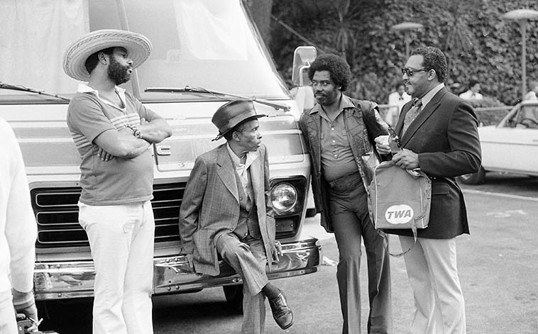 """A moment of stasis backstage at Hollywood Bowl during the Playboy Jazz Festival: the two guys in the middle are Lammar Wright Jr (hat) and Harold Howard, both trumpeters -- the gentleman on the right might be with the Basie band -- June 19, 1982 -- photo by Mark Weber -- Lammar was a complete crack-up to hang with, he was full of stories of the bebop days and so forth, me and Harold laughed for years, after Lammar was gone, over his retort when an old friend asked """"Lammar, how come you didn't bring your horn!"""" and Lammar barked """"BECAUSE I'M NOT PLAYING TODAY!"""""""