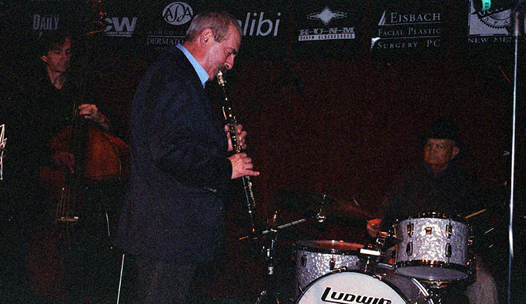 Kenny Davern Quartet making the record LIVE AT THE OUTPOST -- December 13, 2004 -- Kenny (clarinet), Tony DeNicola (drums), Greg Cohen (bass) -- photo by Mark Weber