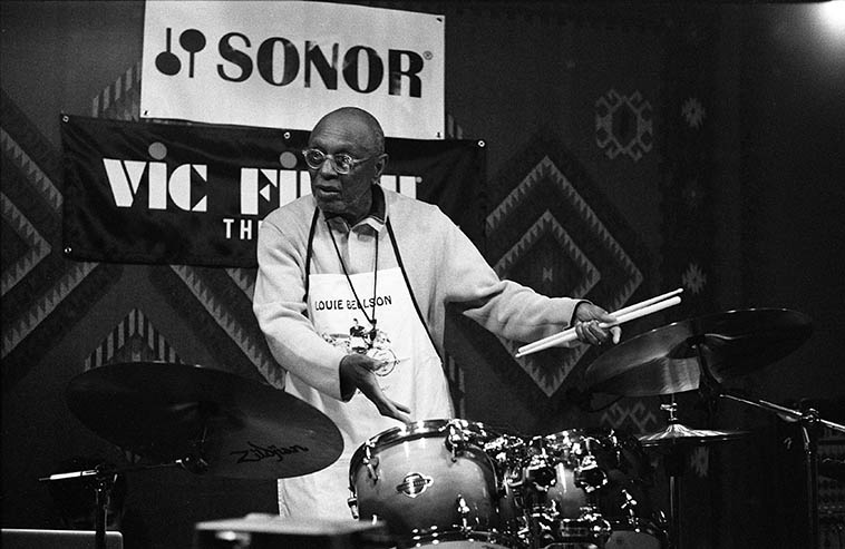 Tootie Heath drum clinic at Grandma's Music Shop, Albuquerque — April 25, 2o15 — photo by Mark Weber ---- Tootie has lived in Santa Fe since around 2013