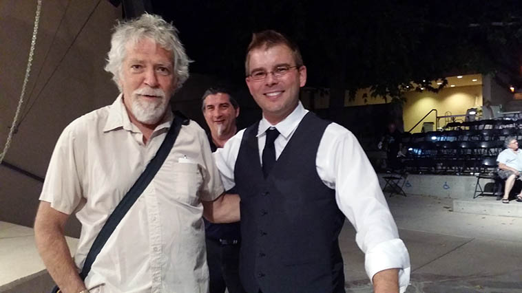 Mark Weber and pianist John Proulx after the concert (Cal's brother Scott Haines in rear) at Albuquerque Museum Amphitheater -- July 27, 2o15 -- John Proulx Trio that night w/ Cal Haines on drums -- photo by Victoria Rogers