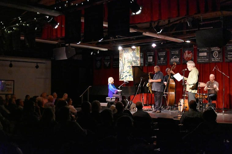 Kazzrie Jaxen Quartet plus Mark Weber -- May 5, 2o16 -- photo by Jim Gale -- You never see sheet music on stage with any of the musicians associated with New Artists Records
