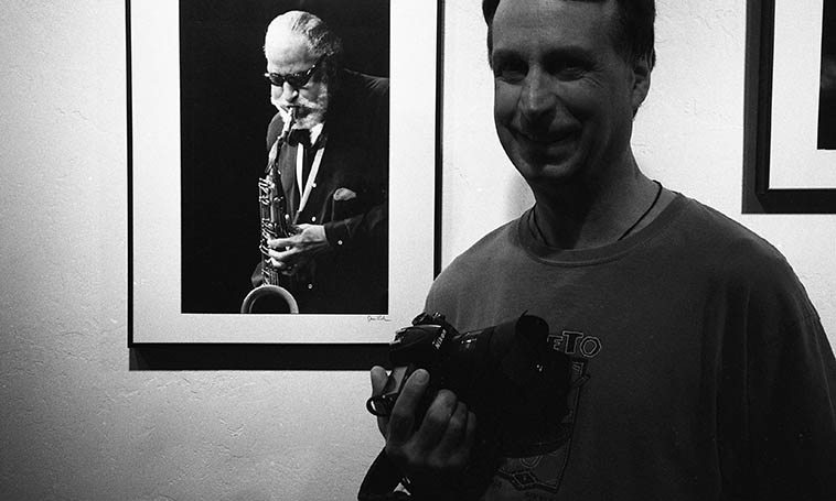 Photographer Jim Gale at his Inpost Artspace exhibit July 30, 2o11 photo by Mark Weber