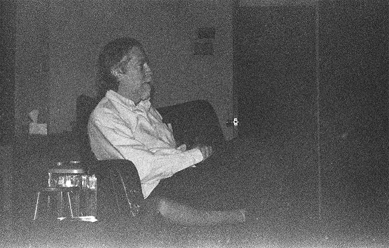 Connie took this photo of me watching Sal Mosca play piano in his studio -- December 4, 2004 -- Mt Vernon, NY