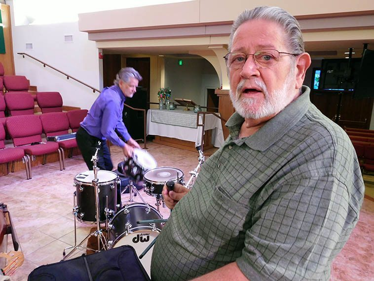 """Bobby Shew has become one of the great jazzmen, always learning more, always teaching, always making it real -- Here he's getting ready for a Sunday afternoon concert in Albuquerque at St John's Methodist Church, September 18, 2o16 with his Quartet (Jim Ahrend, piano; Cal Haines, drums; Colin Deuble, bass) -- At this concert we learned that Bobby wrote his tune """"Red Snapper"""" thinking about Don Menza, while sitting around on the Mork & Mindy set"""