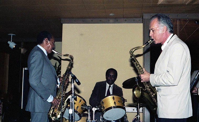 The Harold Land - Warne Marsh Quintet on Sunset Boulevard at the Hyatt Hotel w/ Albert Tootie Heath -- April 12, 1985 -- photo by Mark Weber