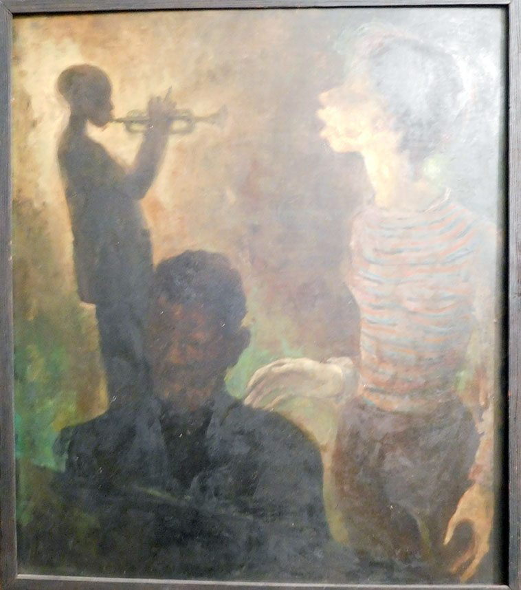 This painting hangs in Sheila Jordan's dining area of her apartment in Chelsea, NYC -- It dates from early 60s and depicts Sheila w/ Duke Jordan and Miles ---- the painting is by her friend Virginia Cox who was a friend in Detroit and came to NYC at the same time (1952) see Shiela's bio page 25 -- (Sheila spent her formative bebop years in Detroit and first met Bird there) -- photo by Mark Weber -- November 18, 2o16