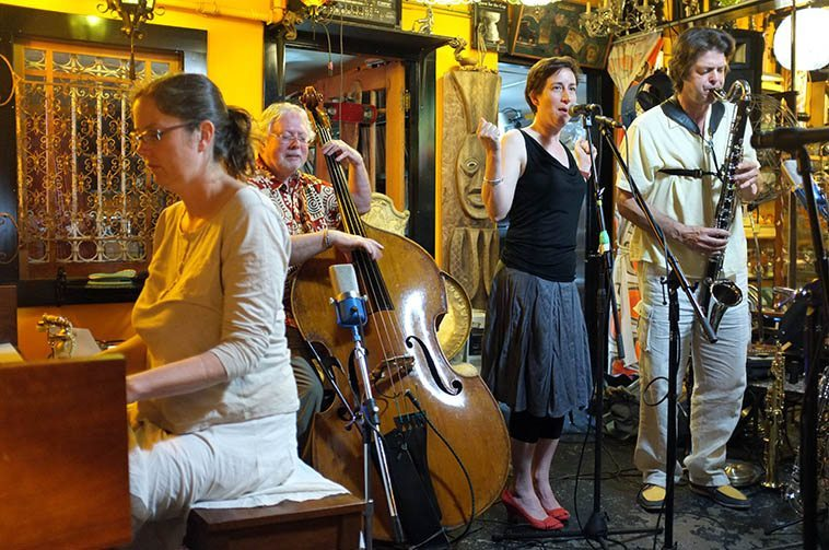 ion Zoo: Lisa Miller(piano), Clyde Reed(bass), Carol Sawyer(voice), Steve Bagnell(bass clarinet) at Prophouse Cafe, Vancouver BC -- June 27, 2o12 -- photo by Mark Weber