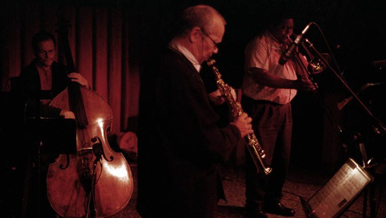Steve Lacy Quintet: George Lewis (trombone), John Betsch (drums), JJ Avenel (bass), Irene Aebi (vocal) -- on their annual visit to the Outpost Performance Space in Albuquerque -- June 25, 2001 -- photo by Mark Weber