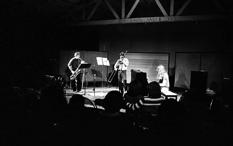 Vinny Golia Chamber Trio -- February 7, 1981 -- Wayne Peet (piano), John Rapson (trombone), Vinny (woodwinds) at Storie-Crawford Studio, Santa Monica, California -- photo by Mark Weber
