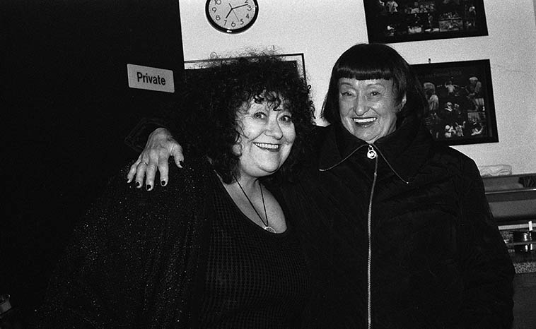 Patti Littlefield and Sheila Jordan -- Patti says she was so blown away to be standing with Sheila, the person she'd been listening to on records for years and years, that she doesn't even remember this shot -- backstage at Outpost where they were sharing a double-bill March 5, 2o15 -- photo by Mark Weber -- Sheila will be visiting the Thursday Jazz Show next Thursday (March 23)